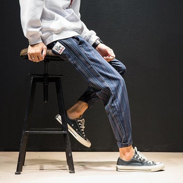 FINDSENSE H1日本 秋季 新款 潮男  條紋休閒  束腳 大碼 寬鬆