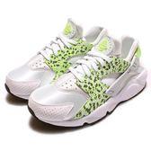 【六折特賣】Nike 武士鞋 Wmns Air Huarache Run PRM 白 螢光綠 爆裂紋 豹紋 女鞋【PUMP306】 683818-101