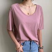 韓國代購純棉T 正韓東大門舒適寬鬆適中大寬領素面T恤 艾爾莎 【TA570109】