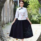 聖誕節 民國風女裝唐裝改良旗袍上衣中國風古裝服裝復古盤扣棉麻茶服套裝 熊貓本
