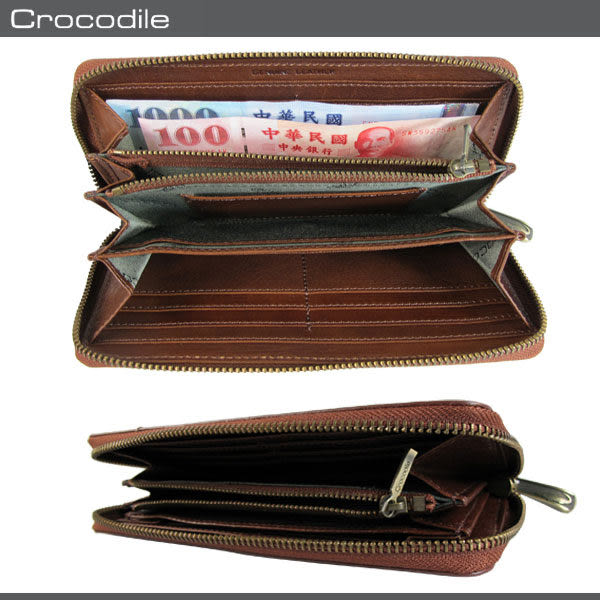 Crocodile  鱷魚 皮夾 Natural系列  咖啡色 15卡長夾  原皮手拿包 0103-58222 MyBag得意時袋