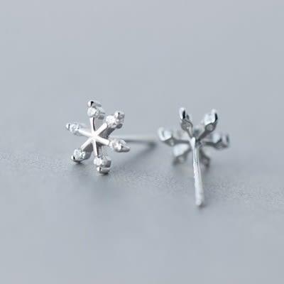925純銀耳環(耳針式)-時尚氣質雪花生日情人節禮物女飾品73dr93【時尚巴黎】