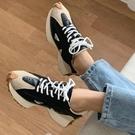 牛皮休閒鞋.街頭流行拼接繫帶厚底運動鞋.白鳥麗子