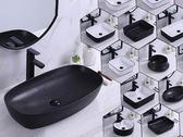 洗手盆 洗面盤現代簡約黑色北歐臺上盆洗手盆陶瓷橢圓形方形洗臉盆洗手池zg