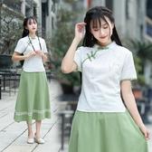 短袖裙裝 新款文藝民國學生連身裙 復古民族風繡花上衣半身裙套裝