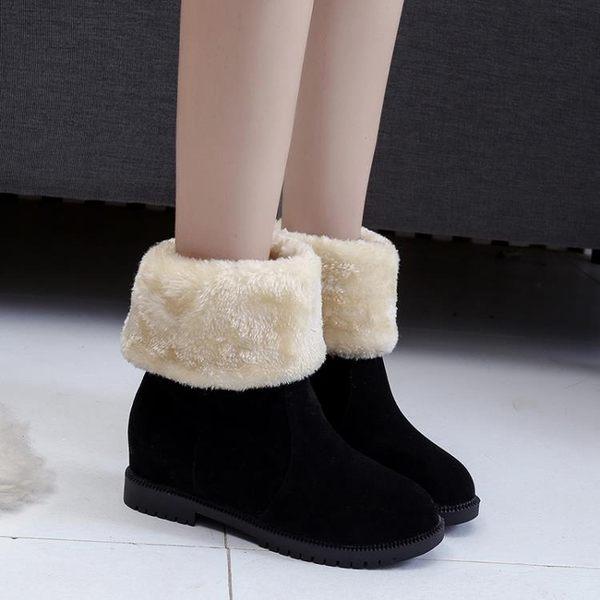 雪靴雪地靴女中筒靴韓版百搭學生簡約兩穿短筒加絨保暖內增高平底棉鞋
