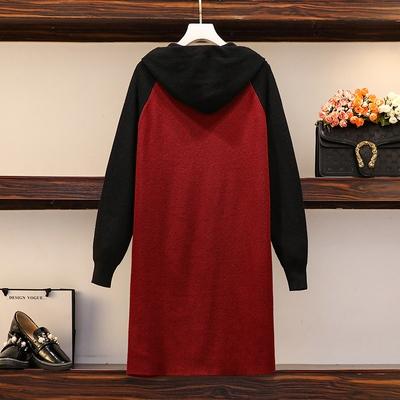 加肥加大碼中長款毛衣裙女秋冬胖mm寬松顯瘦針織打底裙胖妹妹外套F4031依佳衣