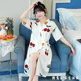 和服式睡袍女中長款可愛睡裙夏季薄款浴袍純棉短袖晨袍家居服睡衣 創意家居生活館
