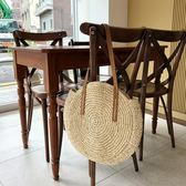 編織包 藍格新款潮圓形斜背草編包編織包沙灘包女士旅行度假草包 瑪麗蘇