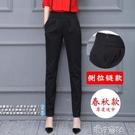 新款春秋季哈倫褲女褲寬鬆直筒黑色長褲休閒職業工裝西裝褲子 【618特惠】