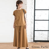❖ Summer ❖ 【SET ITEM】圓領側開衩上衣+鬆緊腰寬褲 - Green Parks
