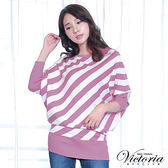 Victoria 斜條長版長袖線衫-女-淺紫粉條
