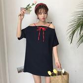 618好康鉅惠 一字肩上衣學生女韓版bf原宿風夏季裙子平肩