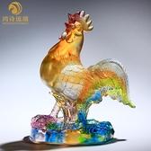 古法琉璃生肖雞的擺件家居客廳裝飾品創意擺設水晶吉祥物高檔禮品