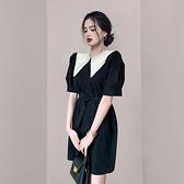 OL洋裝小禮服裙3283#夏季韓版法式圓領撞色泡泡袖系帶收腰小個子連身裙NA07依佳衣