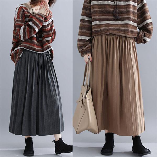 棉 高彈百摺長裙(舒適寬版腰頭) 獨具衣格