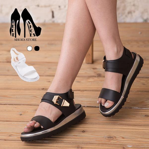[Here Shoes] 皮革金屬扣環厚底涼鞋 2色─KW6612