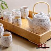 茶具套裝 景德鎮陶瓷茶具套裝家用整套提梁功夫茶壺茶杯竹茶盤【非凡】TW