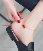紅珠腳鍊女鍍18K玫瑰金鈦鋼個性腳飾彩金流蘇韓版簡約學生