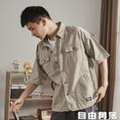 男工裝襯 美式工裝襯衫外套 男短袖夏輕薄軍事風 復古多口 自由角落