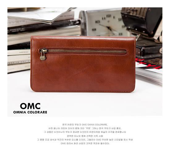 OMC - 原皮魅力真皮典雅鈕扣6卡長夾