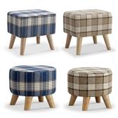 【MUNA 家居】格子布小沙發凳咖啡色小圓凳