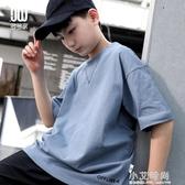 男童t恤夏裝2020新款韓版中大童純色短袖胖童男孩體恤上衣【小艾新品】