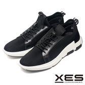 XES 針織倒V紋運動鞋 異材質透氣舒適運動鞋_黑色