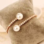 玫瑰金純銀手鍊 珍珠-時尚滿鑽生日聖誕節禮物女手環 73bx53【巴黎精品】