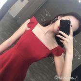 韓風Chic夏季新款性感荷葉邊吊帶洋裝女高腰修身方領短裙 早秋促銷