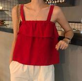 EASON SHOP(GU6901)實拍可愛紅色百摺荷葉邊鬆緊平口吊帶背心內搭衫露肩無袖女上衣服寬鬆顯瘦修身