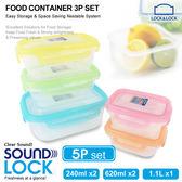 樂扣樂扣 Sound Lock系列每日餐盤保鮮盒-5件組