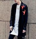 找到自己品牌 男 時尚 街頭 潮 拼色紅色織帶 長袖襯衫 特色襯衫