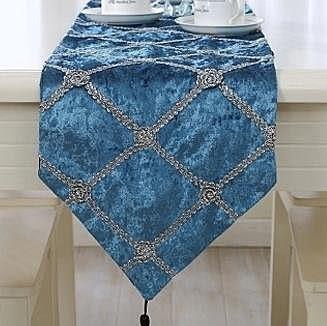 桌旗   立體花卉西餐桌墊  藍色款【藍星居家】