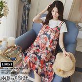 *桐心媽咪.孕婦裝*【CC0003】俏麗風格.兩件式彩印連衣裙-紅色