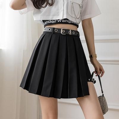半身裙~新款設計感綁腿環褲裙顯瘦顯高百搭高腰百褶半身裙G626-A胖妞衣櫥