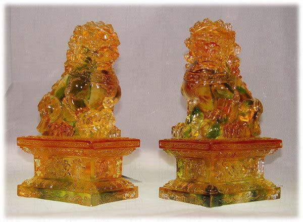 鹿港窯~居家開運水晶琉璃【北京對獅】附精美包裝◆附古法制作珍藏保證卡◆免運費送到家
