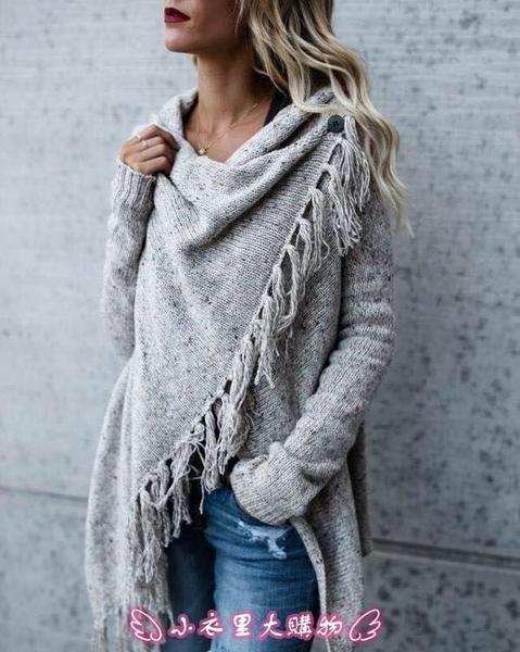針織外套 歐美風秋冬時尚中長款修身時尚蘇斜線款外套毛衣 - 小衣里大購物