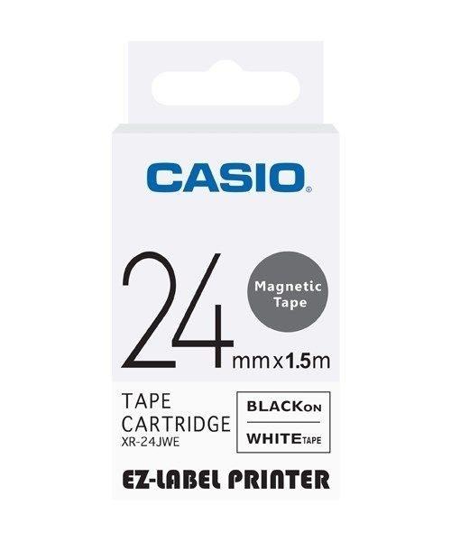 CASIO 標籤機專用磁性色帶-24mm【白底黑字XR-24JWE】