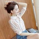 七分袖上衣女裝21新款潮打底衫時尚修身顯瘦娃娃領小個子春裝七分袖蕾絲衫 快速出貨