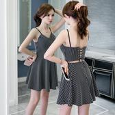 清倉$388 韓國風氣質條紋吊帶性感v領露背高腰無袖洋裝