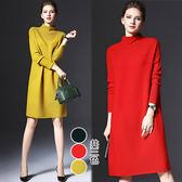 【歐風KEITH-WILL】(現貨在台) 歐系時尚簡潔風毛料洋裝