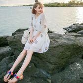 泰國刺繡寬鬆碎花雪紡連身裙 洋裝女夏小清新大呎碼女裝沙灘裙子海邊短裙
