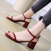 小ck高跟涼鞋女仙女風夏一字式扣帶小跟涼鞋女中跟粗跟ins潮 - 風尚3C