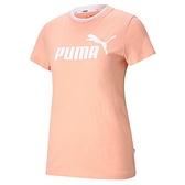 PUMA 上衣 AMPLIFIED 粉橘 領口LOGO 短袖 短T 女 (布魯克林) 58590226