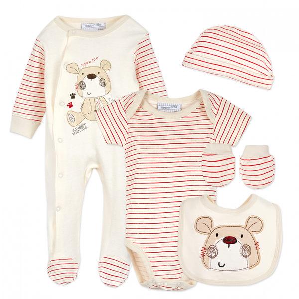 彌月禮 Luvena Fortuna 長袖包腳連身裝5件組 - 紅白條紋小熊  G8346