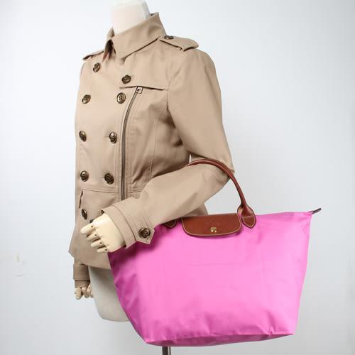LONGCHAMP 短提把中型尼龍摺疊水餃包(桃粉紅-含帕巾)480101-88