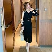 長袖洋裝 冷淡風撞色拼接條紋腰帶收腰中長款連衣裙女裝2020早秋新款 外貿