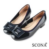 SCONA 蘇格南 全真皮 時尚舒適方釦低跟鞋 藍色 31036-2