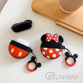 圓形 情侶老鼠 大耳朵 Airpods pro/ Airpods2 蘋果耳機 創意 可愛 矽膠保護套 附指環掛繩 防摔套 軟殼